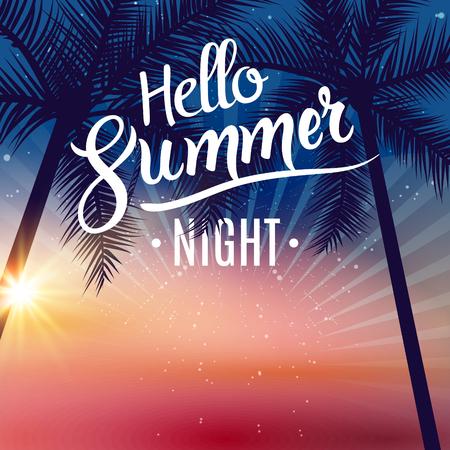 reise retro: Sommer-Nacht Tanzparty. Strand Sommer-Nacht-Party Plakat. Reisen Urlaub Design Flyer. Illustration