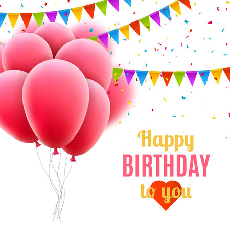 pink balloons: Vector happy birthday card with pink balloons and confetti, party invitation. Illustration