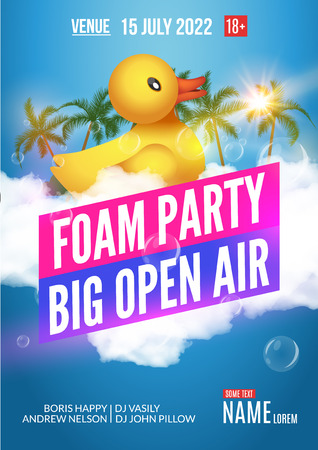 beach party: Foam Party summer Open Air. Beach party foam party poster or flyer design template.