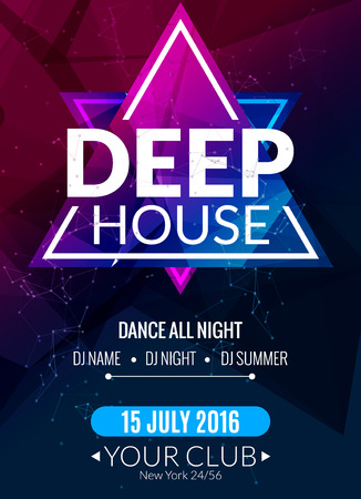 Club electronic deep techno music poster. Musical event DJ flyer. Disco trance sound. Night party. Vettoriali