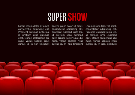 premiere: Movie theater with row of red seats. Premiere event template. Super Show design. Presentation concept with place for text.
