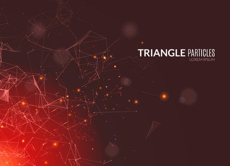 linking: Abstract polygonal techno background. Futuristic style card. Business presentations. Lines, point, planes in 3d space. Cybernetic dots, creative banner