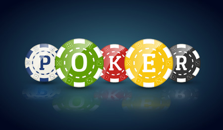 wager: Poker chips with word POKER. Casino concept of colorful chips