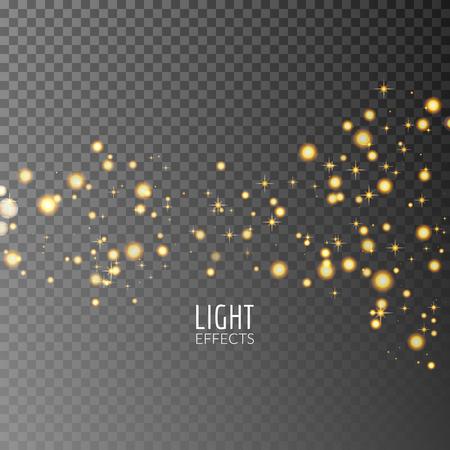 black star: Abstract sparkles on dark transparent background. Lights effects. Illustration