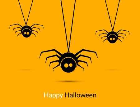 Halloween spiders design poster template. Happy Hallooween decoration of cute spiders.