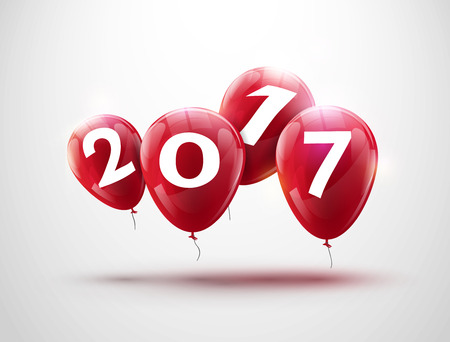red balloons: Happy New Year 2017 red balloons design. Greeting card with red balloons celebration decoration.