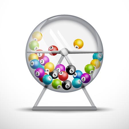 rueda de la fortuna: máquina de lotería con las bolas de la lotería en el interior. Lotto concepto de juego de suerte ilustración.