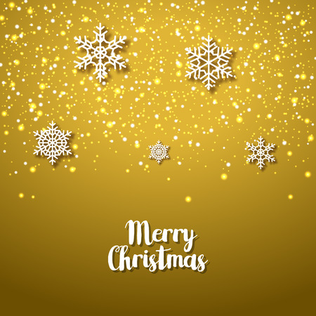 festive season: Festive golden background with snowflakes. Xmas festive season of Christmas winter holiday. Anniversary card.