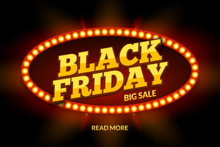 Black Friday SALE frame design template. Black friday discount retro with neon sign light frame. illustration. Illustration