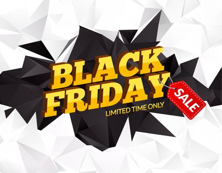 Black Friday sale polygonal background. Discounts promotion . Black friday marketing card poster. 3D design illustration Illustration