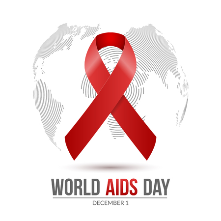 World AIDS Day. 1st December World Aids Day hiv poster. medical illustration disease with red ribbon.