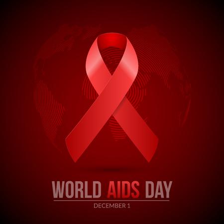 relaciones sexuales: Día mundial del SIDA. Cartel 1 ª diciembre Día Mundial del SIDA Día VIH. enfermedad ilustración médica con la cinta roja.