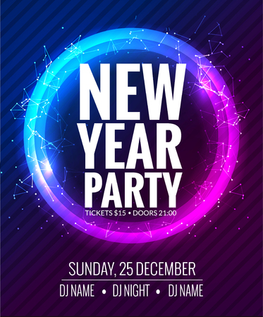 new year party: New year party and Christmas party poster template design. Disco night . New year Holiday celebration invitation.