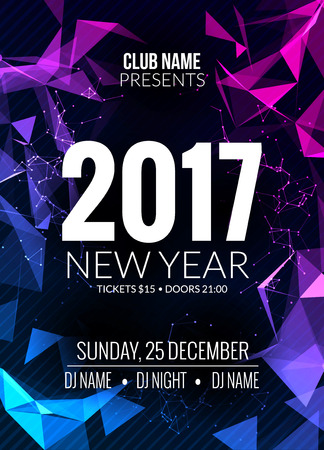 new year party: New Year party design banner. Event celebration template. New year festive poster invitation 2017. Illustration