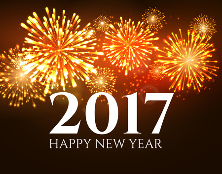 2017 new year background abstract firework poster. Xmas greeting wallpaper. Holiday christmas celebration card with firework.