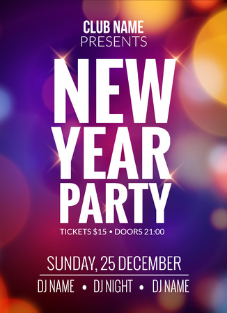 new year party: New Year party design . Event celebration  template bokeh lights. New year festive poster invitation 2017.