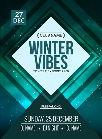 Dance party, dj battle poster design. Winter disco party. Music event or illustration template.