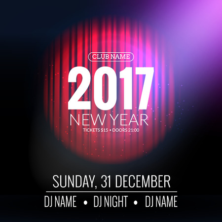 new year party: New Year party design . Event celebration template with red curtains. New year festive poster invitation 2017
