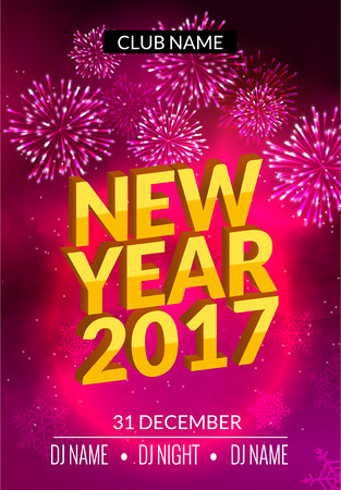New Year party poster design with fireworks light. New year disco template. Celebration invitation card .