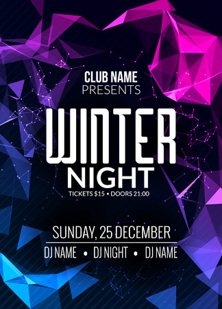 Dance party, dj battle poster design. Winter disco party. Music event  illustration template.