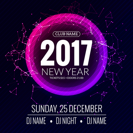 new year party: New year 2017 party and Christmas party poster template design. Disco night . New year Holiday celebration invitation.