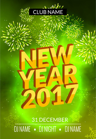 new year party: New Year party poster design with fireworks light. New year disco template. Celebration invitation card .