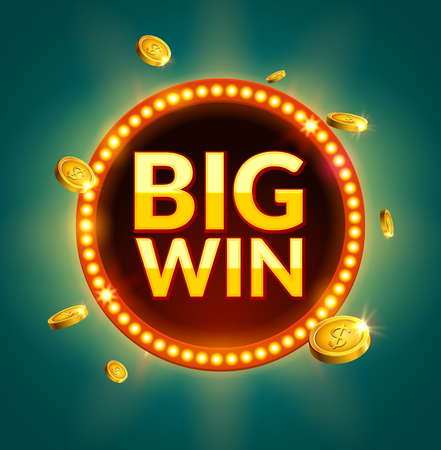 Big Win glowing retro banner for online casino, slot, card games, poker or roulette. Jackpot prize design with coins background. Winner sign.