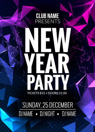 new year party: New Year party design banner. Event celebration flyer template. New year festive poster invitation 2017. Illustration