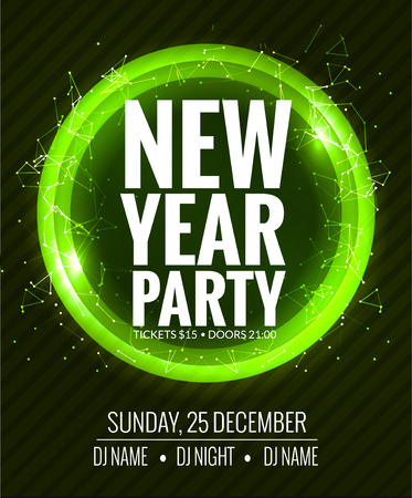 new year party: New year party and Christmas party poster template design. Disco night banner flyer. New year Holiday celebration invitation.