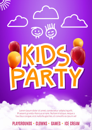 birthday party kids: Kids party art flyer design. Balloons design poster template. Preschool Kids fun event, lovely birthday celebration flyer. Kids show greeting.