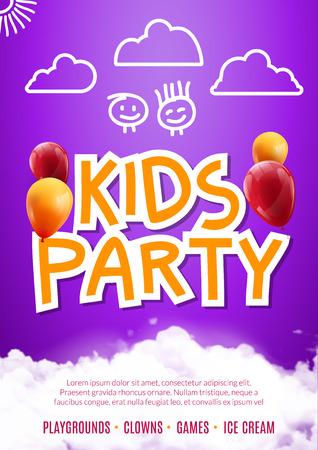 celebration: Kids party art flyer design. Balloons design poster template. Preschool Kids fun event, lovely birthday celebration flyer. Kids show greeting.