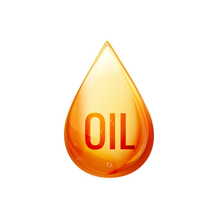 Oil drop isolated illustration. Vector oil droplet on white. Liquid yellow or gold icon concept. Natural ecological fuel. Illustration