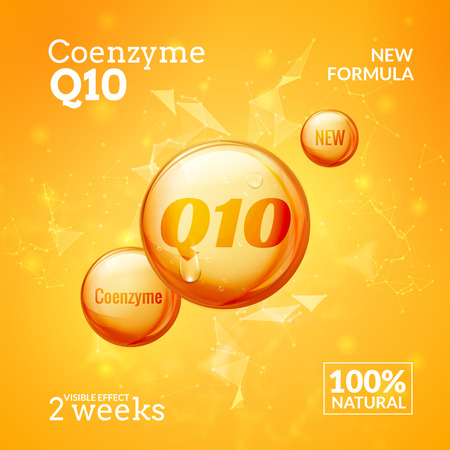 beauty treatment: Coenzyme Q10. Supreme serum collagen oil drop vector design. Skin care essence droplet solution. Natural beauty treatment for health.