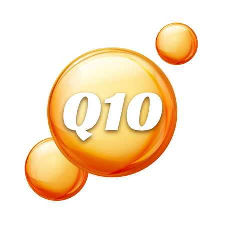 Coenzyme Q10. Golden vector oil icon. Treatment drop pill capsule. Q10 skin care wellness. Illustration