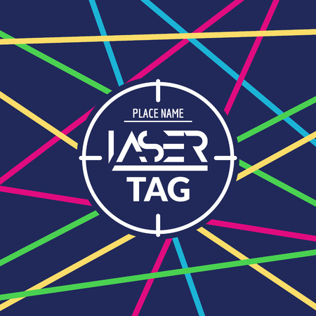 laser tag: Laser tag target game poster flyer. Vector lasertag banner for fun party. Aim shot poster.