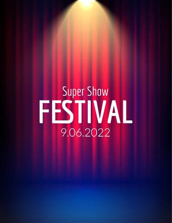 Festiwal plakat z reflektorem. wydarzenie koncertowe, projekt spektaklu teatralnego. Zasłona etapie wektor. Szablon ulotki plakat ze światłem. Świąteczna ilustracja.