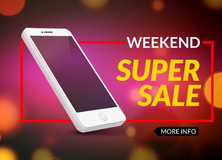 Super sale phone banner. Mobile clearance sale discount poster. Smartphone sale. Marketing special offer promotion. Illustration