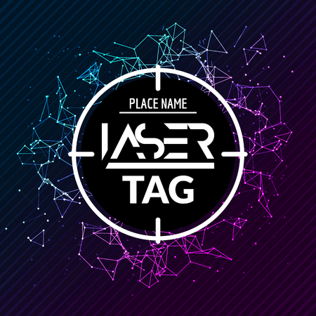 Laser tag target game poster flyer. Vector lasertag banner for fun party. Aim shot poster.