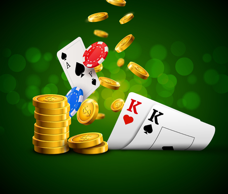Poker chips casino green poster. Gamble cards and coins success winner royal casino background. Illustration