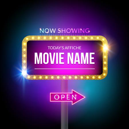 Cinéma panneau montrant maintenant. signe vecteur pour le théâtre avec des lumières. Brillant bannière décoration. Vecteurs