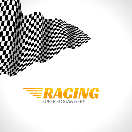 Racing background with race flag, vector sport design banner or poster. Illustration
