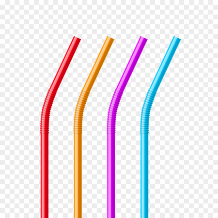 plastic pipe: Drinking straws set. Vector colorful pipe tube plastic straw for juice, cocktail isolated.