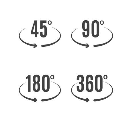 Angle degrees icons vector design. Arrows rotation circle symbol. Geometry measure. Ilustração Vetorial