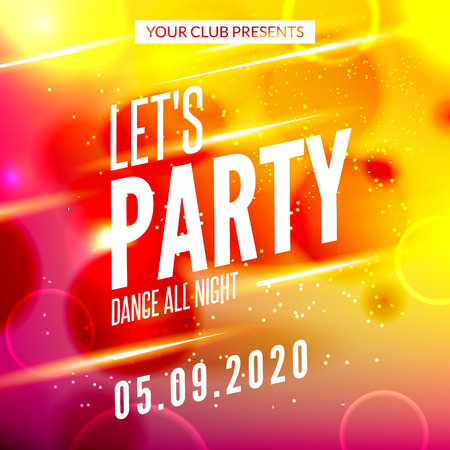 lets party: Lets party design poster. Night club template. Music party invitation from DJ.