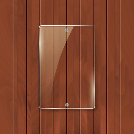 panelling: Glass frame on wooden texture background. Glass framework banner design.