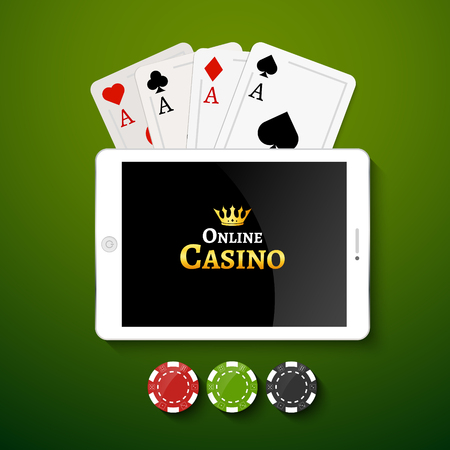 Online casino design poster banner. Tablet with poker chips and cards on table. Casino gambling background, poker mobile app. Illustration