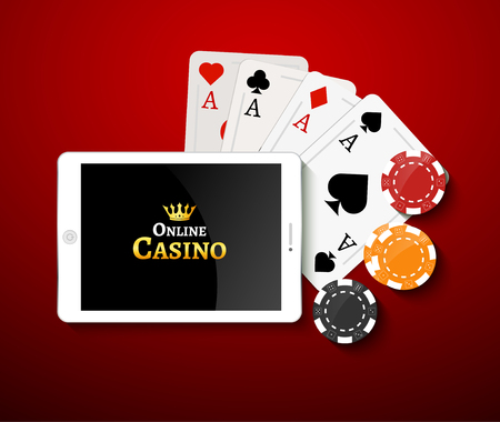 bet: Online casino design poster banner. Tablet with poker chips and cards on table. Casino gambling background, poker mobile app. Illustration