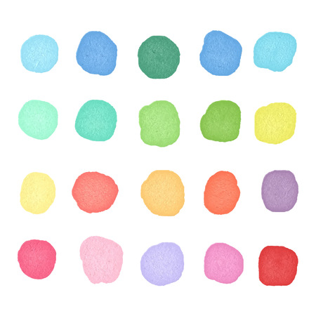 dos: Set watercolor dos. Colorful watercolor blobs. Round shape background.