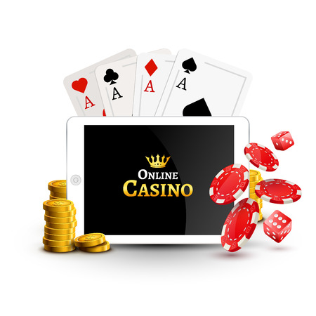 Online casino design poster banner. Tablet with poker chips, coins and cards on table. Casino gambling background, poker mobile app. Ilustração