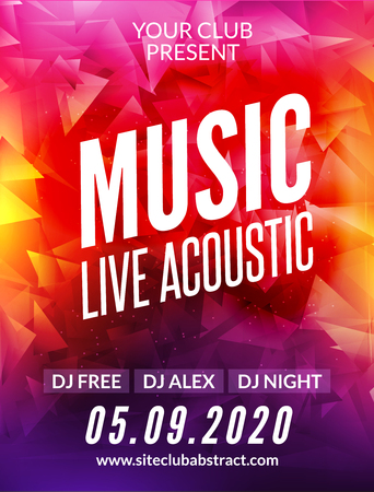 Live music acoustic poster design temple. Live show modern party dj invitation flyer.